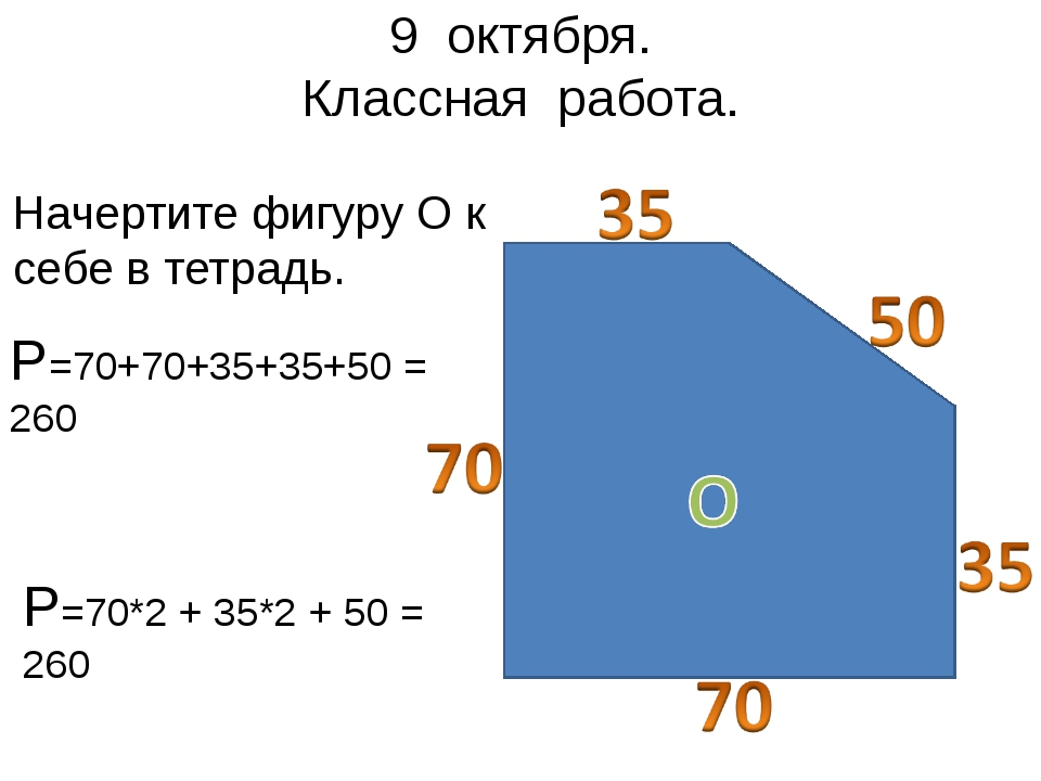 9 октября. Классная работа. Начертите фигуру О к себе в тетрадь. Р=70+70+35+3...