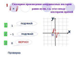 Скалярное произведение координатных векторов и : 3 ВЕРНО! 2 1 ПОДУМАЙ! ПОДУМ