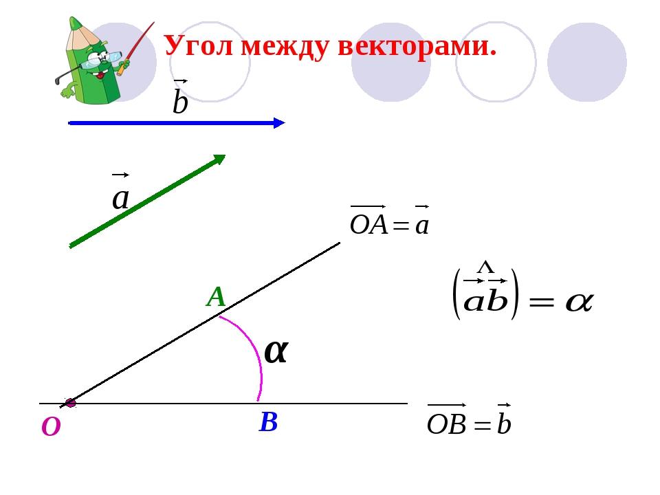 Угол между векторами. О А В α
