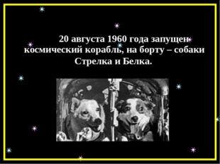 20 августа 1960 года запущен космический корабль, на борту – собаки Стрелка