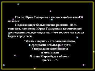 После Юрия Гагарина в космосе побывали 436 человек. Подавляющее большинство