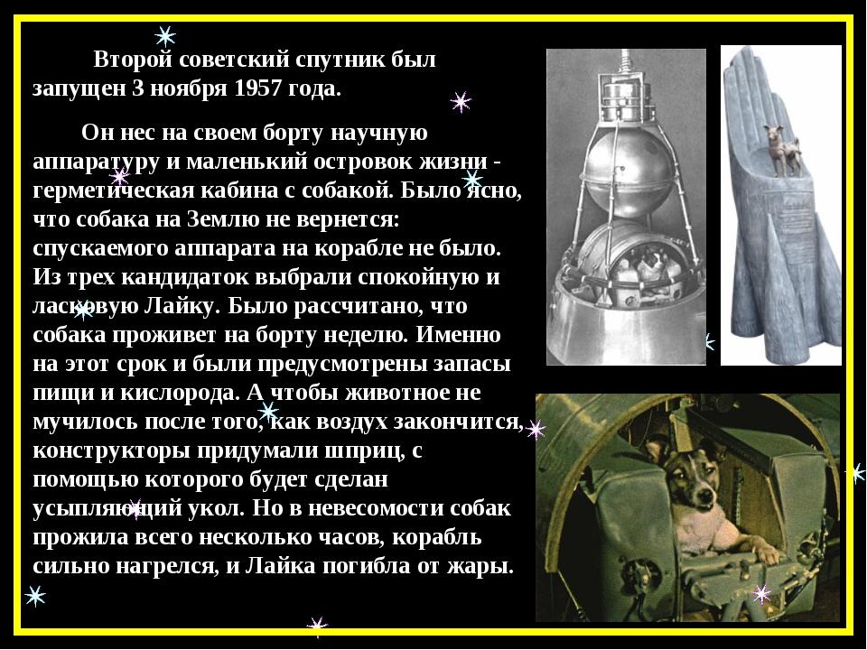 Второй советский спутник был запущен 3 ноября 1957 года. Он нес на своем бор...