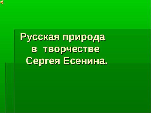 Русская природа в творчестве Сергея Есенина.