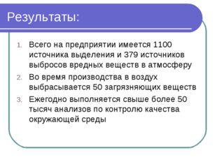 Результаты: Всего на предприятии имеется 1100 источника выделения и 379 источ