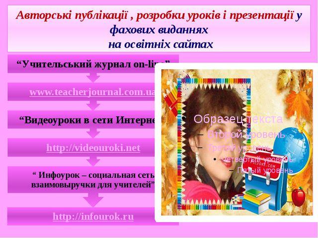Авторські публікації , розробки уроків і презентації у фахових виданнях на ос...