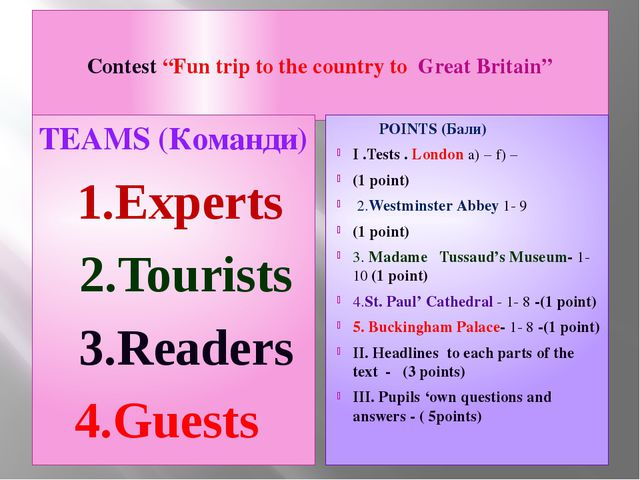 """Contest """"Fun trip to the country to Great Britain"""" TEAMS (Команди) 1.Experts..."""