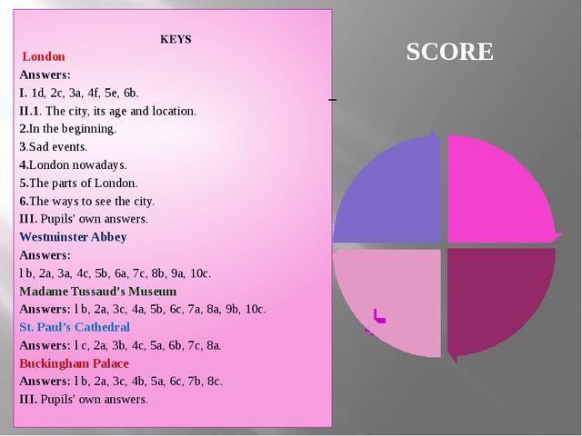 SCORE KEYS London Answers: I. 1d, 2c, 3a, 4f, 5e, 6b. II.1. The city, its...