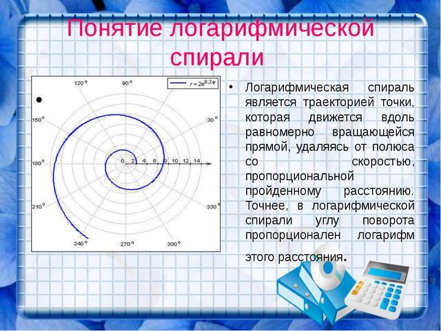 Понятие логарифмической спирали Логарифмическая спираль является траекторией...