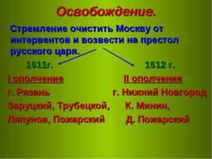 Освобождение. Стремление очистить Москву от интервентов и возвести на престол