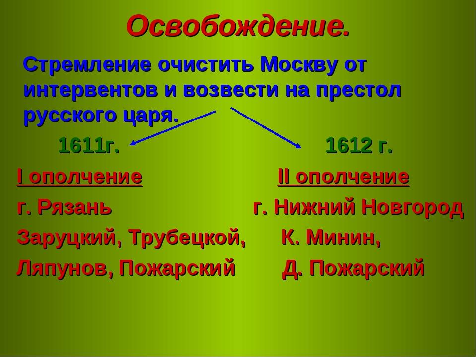 Освобождение. Стремление очистить Москву от интервентов и возвести на престол...