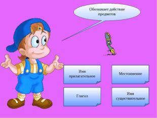 Обозначает действие предметов Имя прилагательное Глагол Местоимение Имя сущес