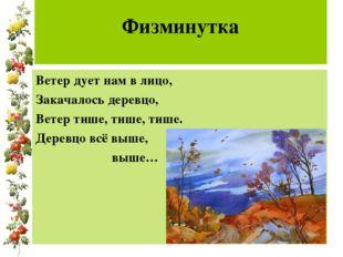 Физминутка Ветер дует нам в лицо, Закачалось деревцо, Ветер тише, тише, тише
