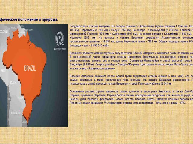 Географическое положение и природа. Государство в Южной Америке. На западе гр...