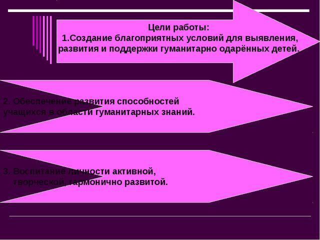 Цели работы: 1.Создание благоприятных условий для выявления, развития и подде...