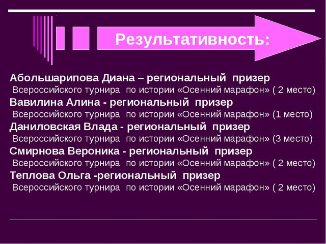 Результативность: Абольшарипова Диана – региональный призер Всероссийского ту...