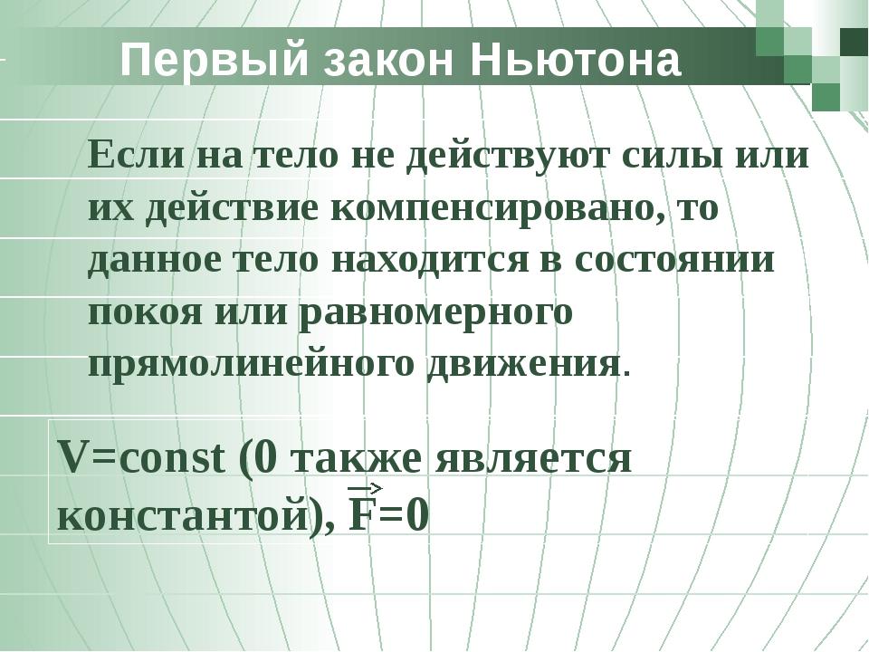 Первый закон Ньютона Если на тело не действуют силы или их действие компенси...
