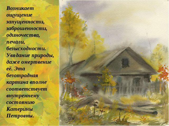 Возникает ощущение запущенности, заброшенности, одиночества, печали, безысход...