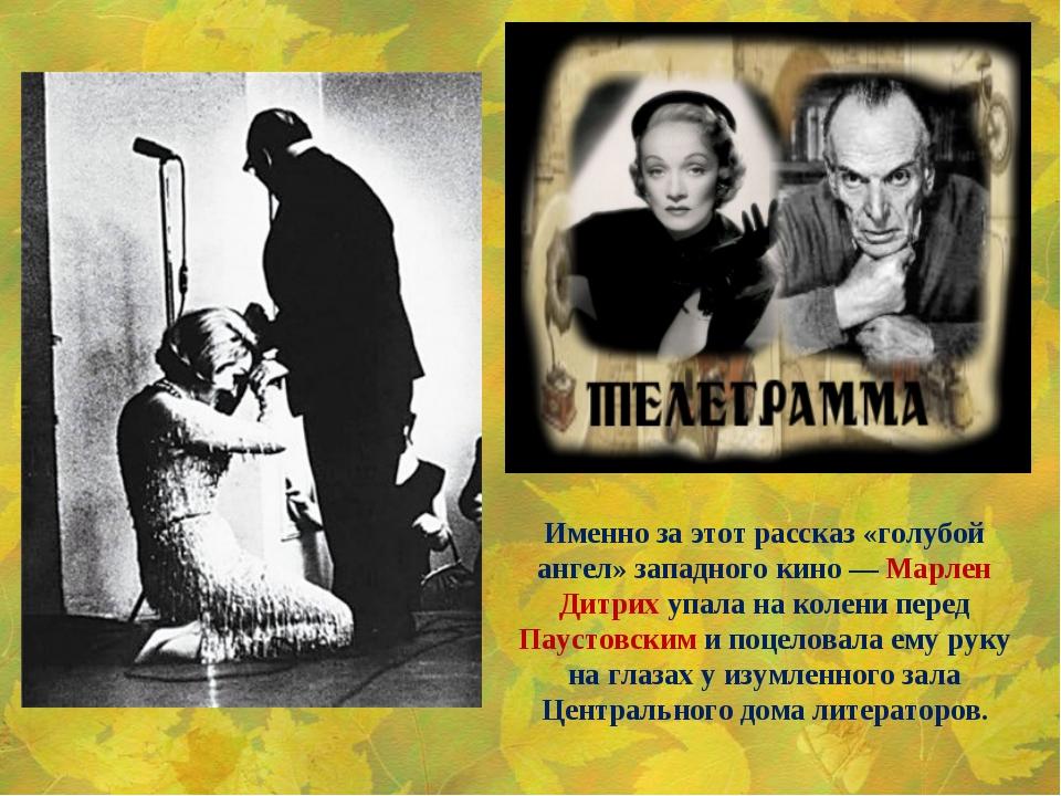 Именно заэтот рассказ «голубой ангел» западного кино— Марлен Дитрих упала н...