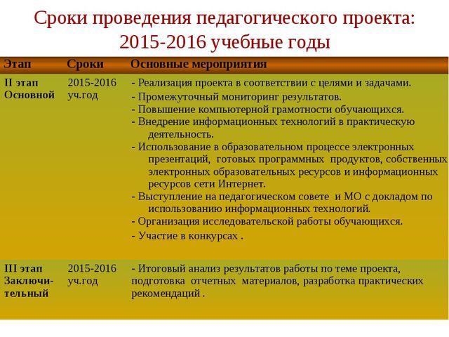 Сроки проведения педагогического проекта: 2015-2016 учебные годы ЭтапСрокиО...