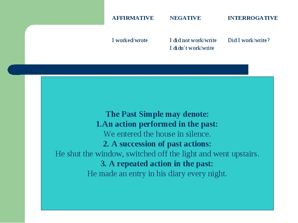 The Past Simple may denote: 1.An action performed in the past: We entered the...