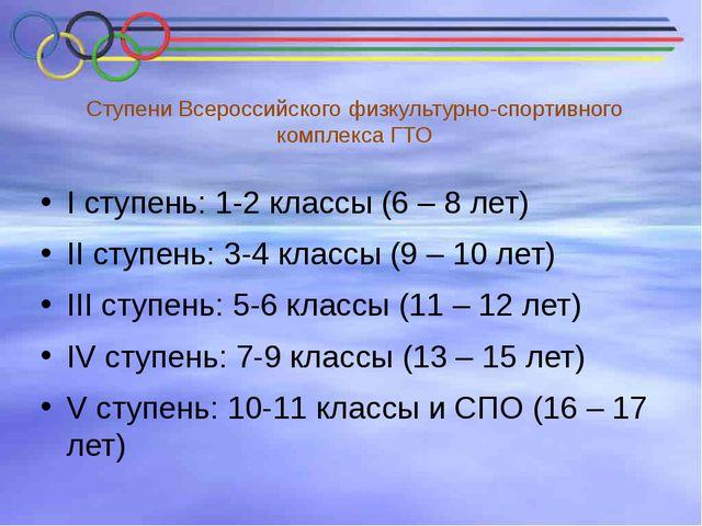 Ступени Всероссийского физкультурно-спортивного комплекса ГТО I ступень: 1-2...