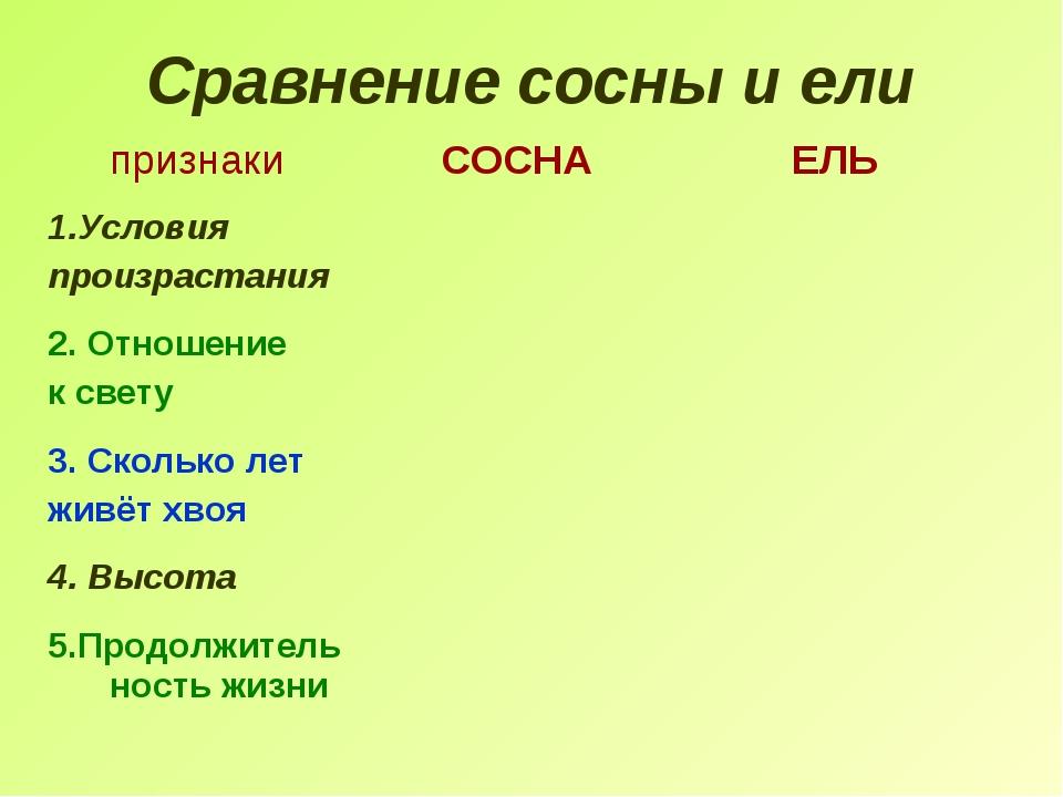 Сравнение сосны и ели признакиСОСНАЕЛЬ 1.Условия произрастания 2. Отношение...