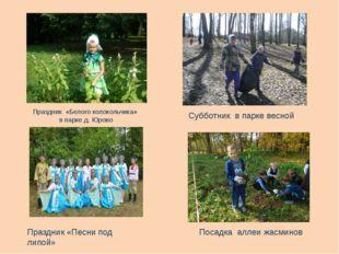 Праздник «Белого колокольчика» в парке д. Юрово Субботник в парке весной Праз