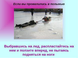 Если вы провалились в полынью Выбравшись на лед, распластайтесь на нем и полз
