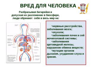 ВРЕД ДЛЯ ЧЕЛОВЕКА нервные расстройства, заболевания мозга; опухоли; заболеван