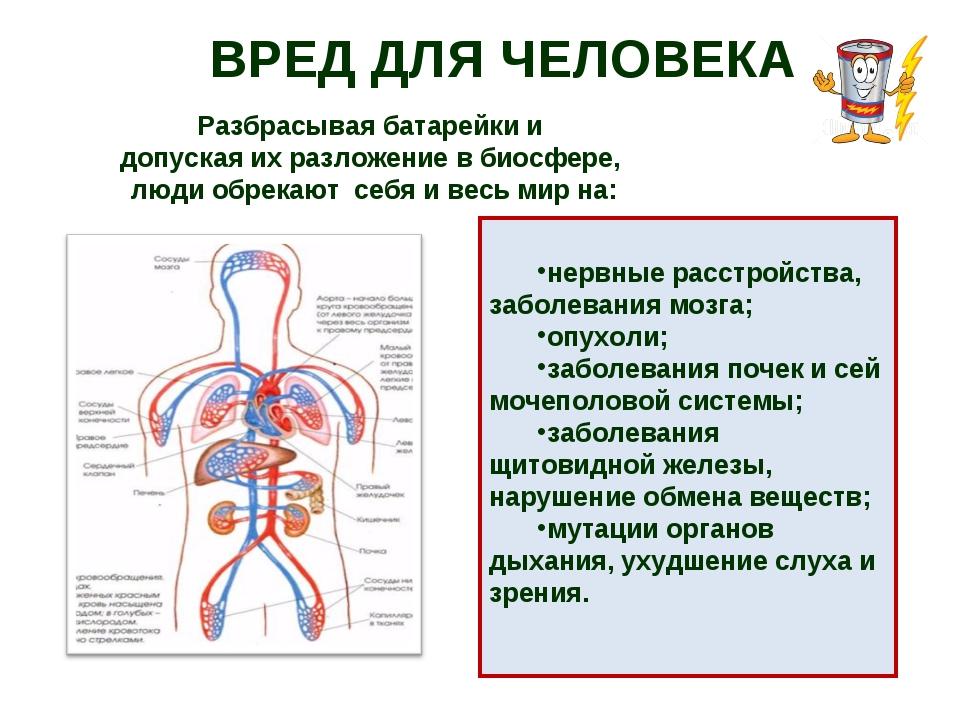 ВРЕД ДЛЯ ЧЕЛОВЕКА нервные расстройства, заболевания мозга; опухоли; заболеван...