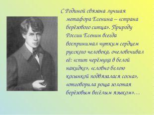С Родиной связана лучшая метафора Есенина – «страна берёзового ситца». Природ
