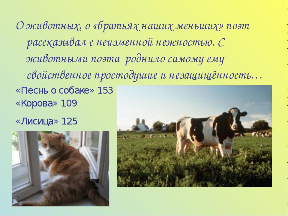 О животных, о «братьях наших меньших» поэт рассказывал с неизменной нежностью...