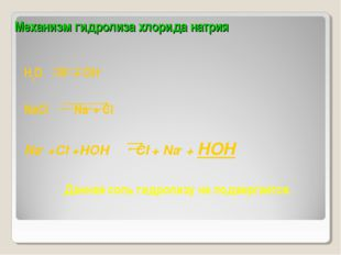 Механизм гидролиза хлорида натрия H2O H+ + OH- NaСl  Na+ + Cl- Na+ +Cl- +H