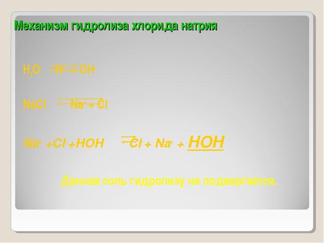 Механизм гидролиза хлорида натрия H2O H+ + OH- NaСl  Na+ + Cl- Na+ +Cl- +H...