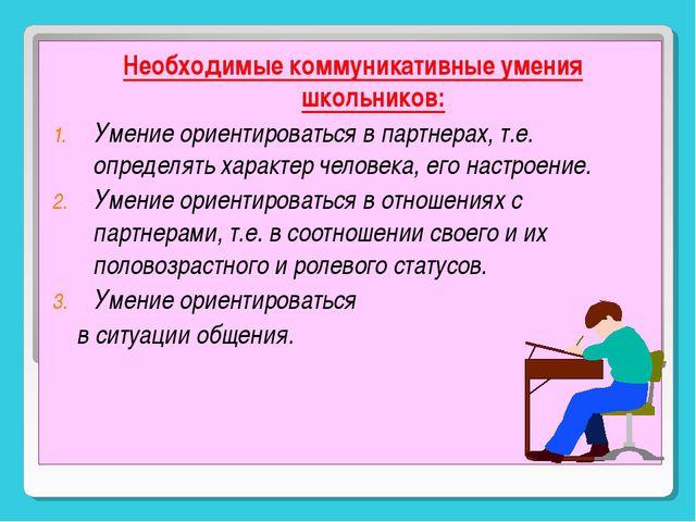 Необходимые коммуникативные умения школьников: Умение ориентироваться в партн...