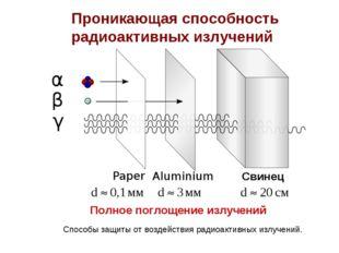 Проникающая способность радиоактивных излучений Полное поглощение излучений С