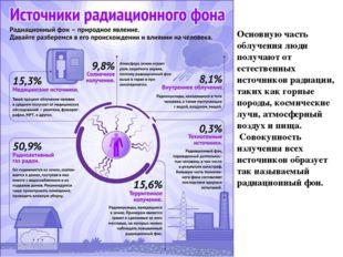 Основную часть облучения люди получают от естественных источников радиации, т