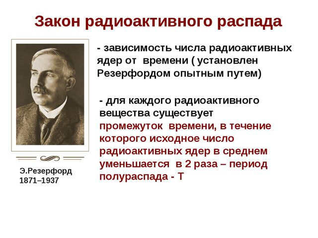 Э.Резерфорд 1871–1937 Закон радиоактивного распада - зависимость числа радиоа...