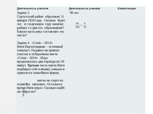Деятельность учителя Деятельность ученика Компетенции Задача 3 Сургутскийрайо