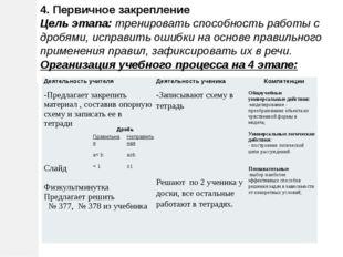 4. Первичное закрепление Цель этапа: тренировать способность работы с дробями