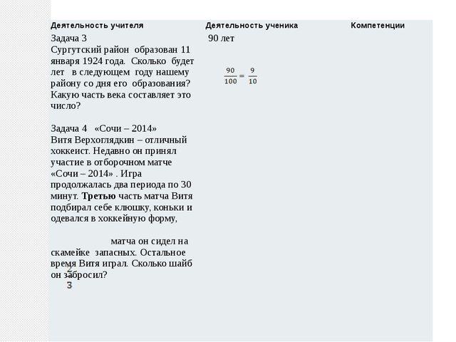 Деятельность учителя Деятельность ученика Компетенции Задача 3 Сургутскийрайо...