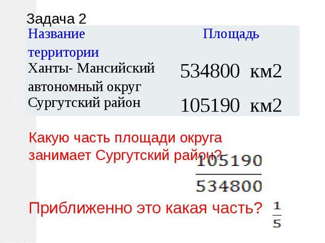 Задача 2 Какую часть площади округа занимает Сургутский район? Приближенно эт...