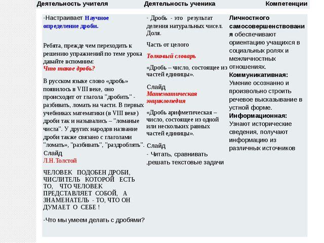 Деятельность учителя Деятельность ученика Компетенции -НастраиваетНаучноеопре...