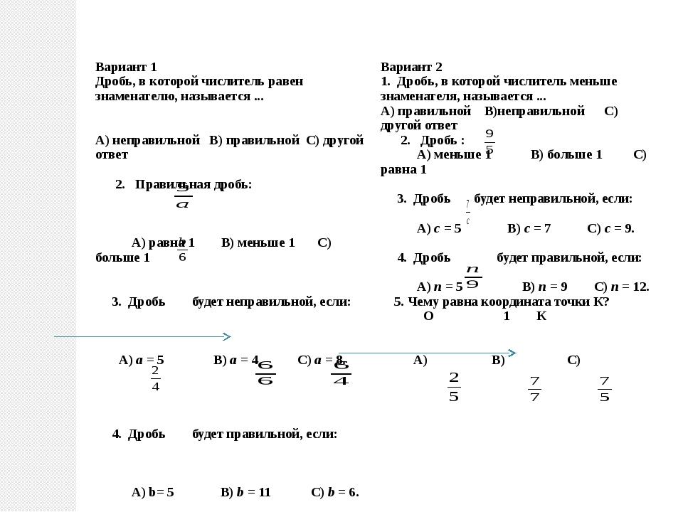 Вариант 1 Дробь, в которой числитель равен знаменателю, называется ... А) не...