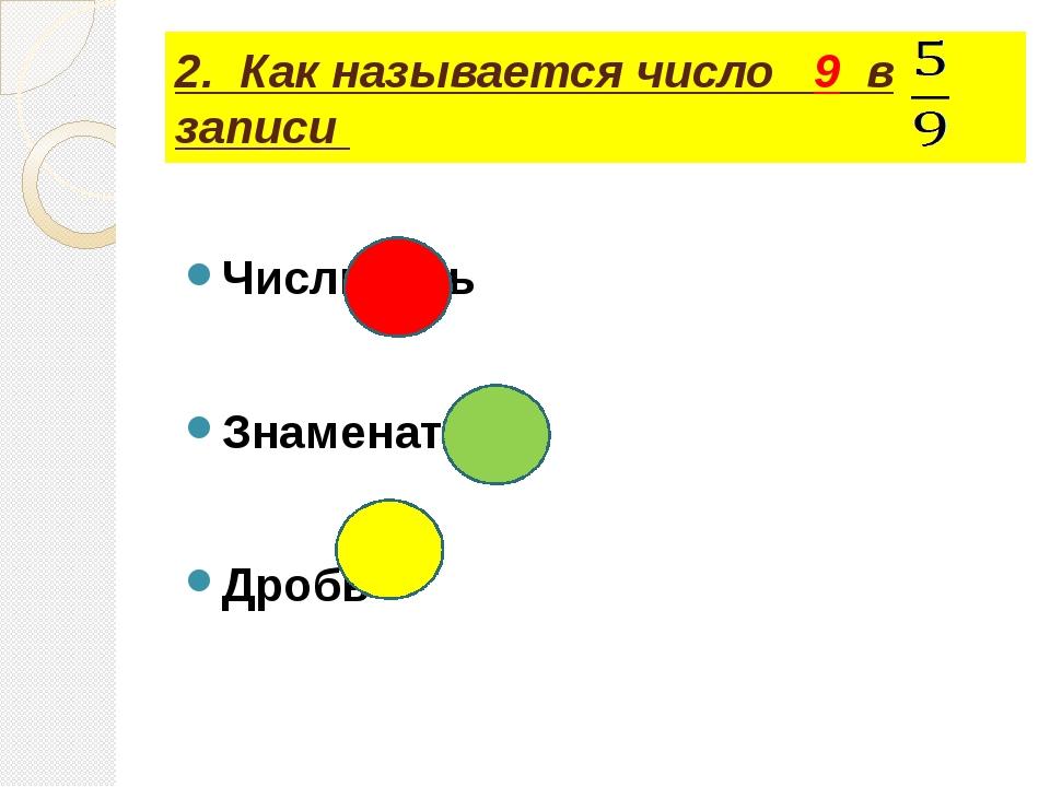 2. Как называется число 9 в записи Числитель Знаменатель Дробь