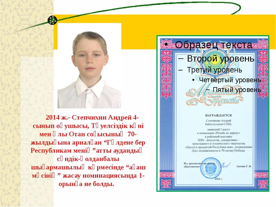 2014 ж.- Степчихин Андрей 4-сынып оқушысы, Тәуелсіздік күні мен Ұлы Отан соғ...