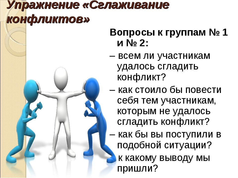Упражнение «Сглаживание конфликтов» Вопросы к группам № 1 и № 2: – всем ли уч...