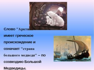 """Слово """"Арктика"""" имеет греческое происхождение и означает """"страна большого мед"""