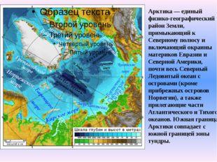 Арктика — единый физико-географический район Земли, примыкающий к Северному п