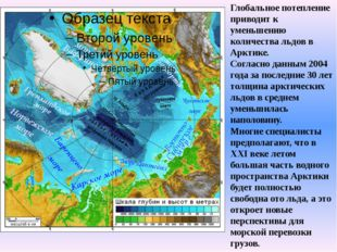 Глобальное потепление приводит к уменьшению количества льдов в Арктике. Согл